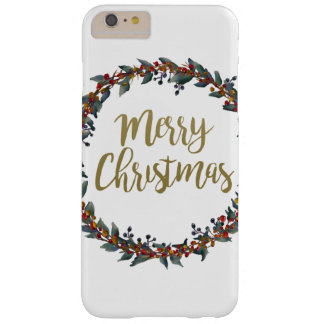 Watercolor wreath - merry christmas - branches barely there iPhone 6 plus case