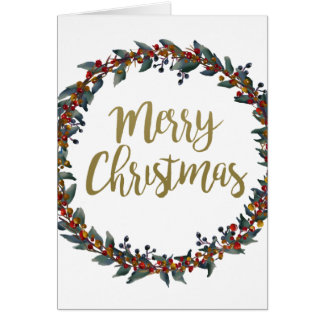 Watercolor wreath - merry christmas - branches card