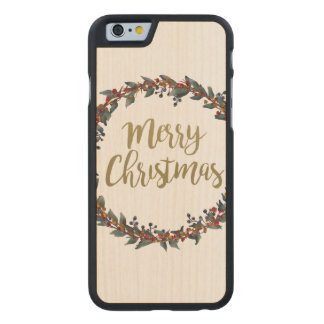 Watercolor wreath - merry christmas - branches carved maple iPhone 6 case