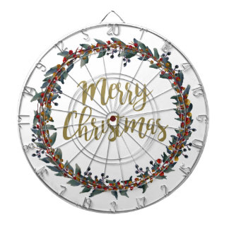 Watercolor wreath - merry christmas - branches dartboard