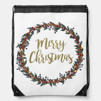 Watercolor wreath - merry christmas - branches drawstring bag