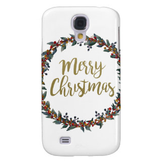 Watercolor wreath - merry christmas - branches galaxy s4 cases
