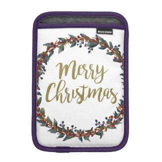 Watercolor wreath - merry christmas - branches iPad mini sleeve