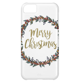 Watercolor wreath - merry christmas - branches iPhone 5C case