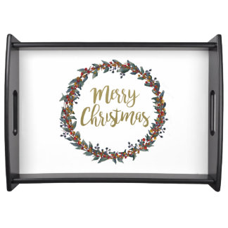 Watercolor wreath - merry christmas - branches serving tray