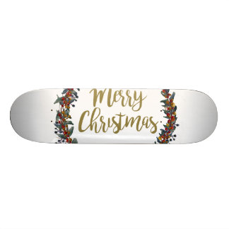 Watercolor wreath - merry christmas - branches skateboard deck