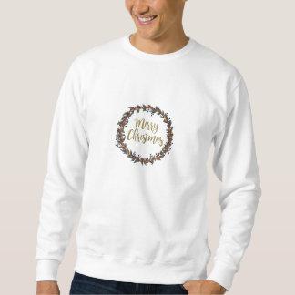 Watercolor wreath - merry christmas - branches sweatshirt