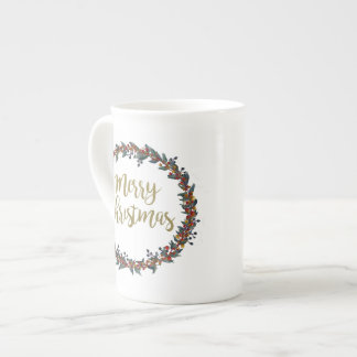 Watercolor wreath - merry christmas - branches tea cup