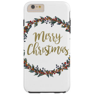 Watercolor wreath - merry christmas - branches tough iPhone 6 plus case