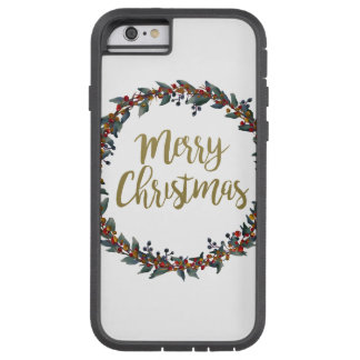 Watercolor wreath - merry christmas - branches tough xtreme iPhone 6 case