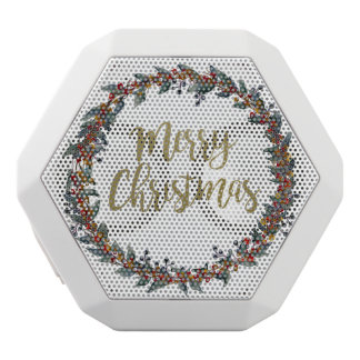 Watercolor wreath - merry christmas - branches white bluetooth speaker