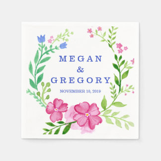 Watercolor Wreath Wedding Disposable Napkins