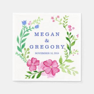 Watercolor Wreath Wedding Disposable Serviette