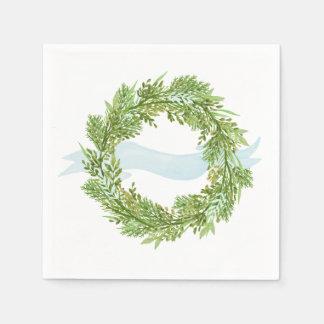 Watercolor wreath with blue ribbon disposable serviette