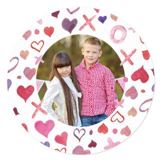 Watercolor XOXO Valentine's Day Cards 13 Cm X 13 Cm Square Invitation Card