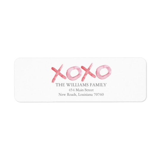 Watercolor XOXO Valentine's Day Return Address Label