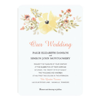 Watercolor Yellow Coral Spring Blossoms | Wedding Card