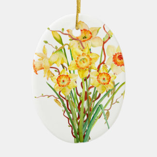 Watercolor Yellow Daffodils Spring Flowers Ceramic Ornament