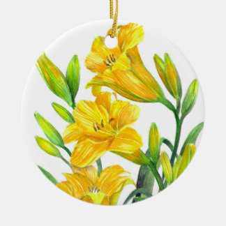 Watercolor Yellow Day Lilies Floral Art Ceramic Ornament