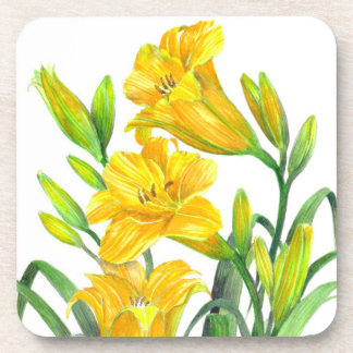 Watercolor Yellow Day Lilies Floral Art Coaster