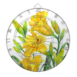 Watercolor Yellow Day Lilies Floral Art Dartboard