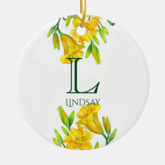 Watercolor Yellow Day Lilies Floral Art Monogram Ceramic Ornament