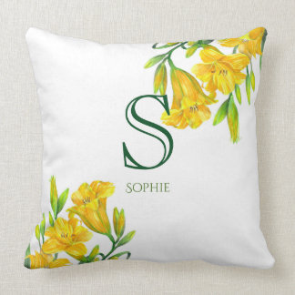 Watercolor Yellow Day Lilies Floral Art Monogram Cushion