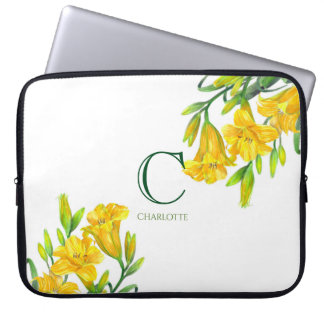 Watercolor Yellow Day Lilies Floral Art Monogram Laptop Sleeve