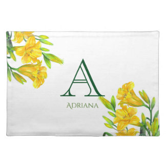 Watercolor Yellow Day Lilies Floral Art Monogram Placemat