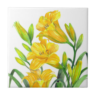 Watercolor Yellow Day Lilies Floral Art Tile