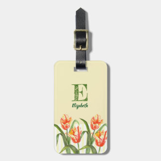 Watercolor Yellow Parrot Tulip Floral Art Monogram Luggage Tag