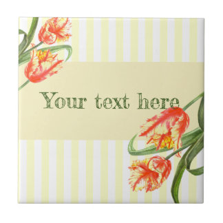 Watercolor Yellow Parrot Tulips Floral Art Ceramic Tile