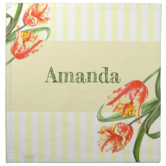 Watercolor Yellow Parrot Tulips Floral Art Napkin