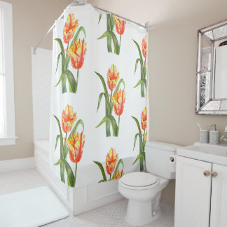 Watercolor Yellow Parrot Tulips Floral Art Shower Curtain