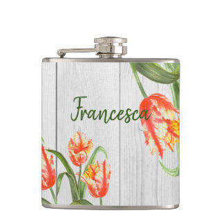 Watercolor Yellow Parrot Tulips Illustration Hip Flask