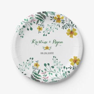 Watercolor Yellow Primrose Garden Paper Plate