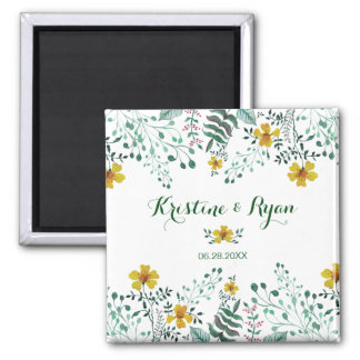 Watercolor Yellow Primrose Garden Wedding Magnet