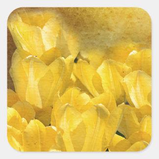Watercolor Yellow Tulips with Chevron Square Sticker