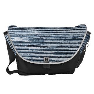 Watercolor Zebra Stripes in Blue Courier Bag
