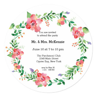 Watercolored flowers 13 cm x 13 cm square invitation card