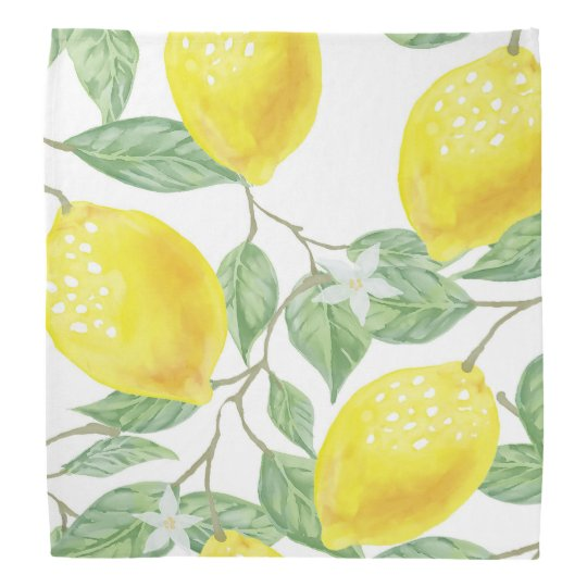 Watercolored lemons green yellow on white bandana