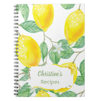 Watercolored lemons recipe cookbook notebook