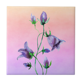 Watercolored violet bluebells on violet and peach ceramic tile