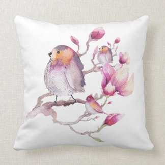 Watercolors birds & Pink Magnolia Illustration Throw Pillow