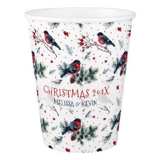 Watercolors Bull-finch & Christmas Berries Pattern Paper Cup
