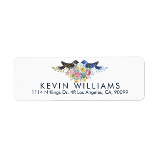 Watercolors Colorful Floral Bouquet & Love Birds Return Address Label