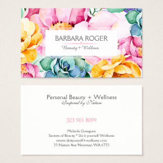 Watercolors Colorful  Flowers & Cactus Collage Business Card