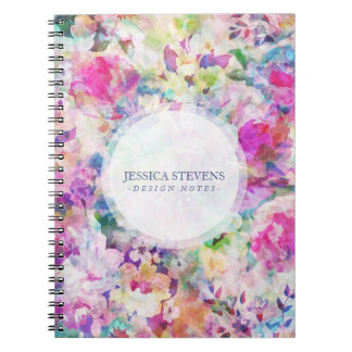 Watercolors Colorful Flowers Collage Pattern Notebook