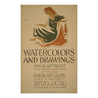 Watercolors Drawings Exhibit New York City Poster