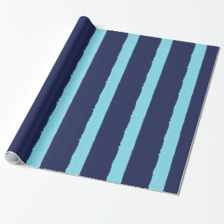 Watercolors Navy and Blue Stripes Wrapping Paper